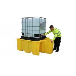 Vasca di stoccaggio e contenimento in polietilene  1 IBC da 1000 litri con supporto per travaso