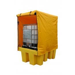Vasca di contenimento e stoccaggio in polietileneper 1 IBC da 1000 litri con copertura