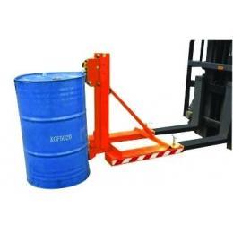 Pinza per barili in metallo o plastica su carrello elevatore