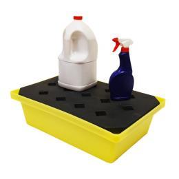 Vaschetta di stoccaggio e raccolta in polietilene per fusti e serbatoi piccoli da 22 litri