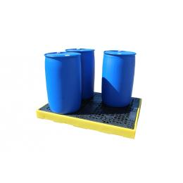 Vasca di contenimento e stoccaggio a basso profilo per 4 fusti